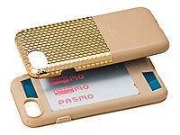 GRAMAS Hex Hybrid Huelle iPhone 8/7 Schutzhuelle Polycarbonat mit Hexagon-Muster Echtleder weiches TPU-Polster GD gold - Produktdetailbild 2