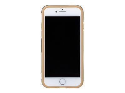 GRAMAS Hex Hybrid Huelle iPhone 8/7 Schutzhuelle Polycarbonat mit Hexagon-Muster Echtleder weiches TPU-Polster GD gold