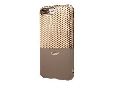 GRAMAS Hex Hybrid Huelle iPhone 8+/7+ Schutzhuelle 8/7/6S/6 Plus Polycarbonat mit Hexagon-Muster Echtleder TPU-Polster CG champagner