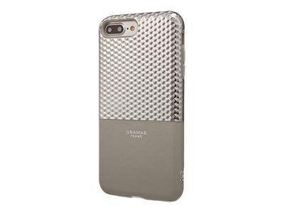 GRAMAS Hex Hybrid Huelle iPhone 8+/7+ Schutzhuelle 8/7/6S/6 Plus Polycarbonat mit Hexagon-Muster Echtleder TPU-Polster SL silber