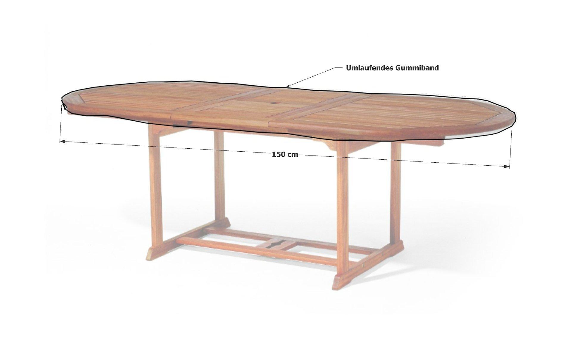 Grasekamp Gartentisch Tischplatten Abdeckung 150x90cm Oval Weiss