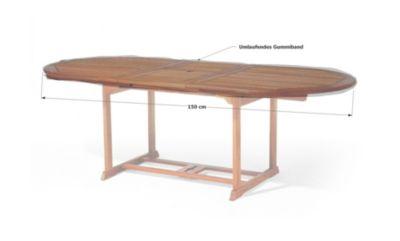 Grasekamp Gartentisch Tischplatten Abdeckung 150x90cm Oval Grau