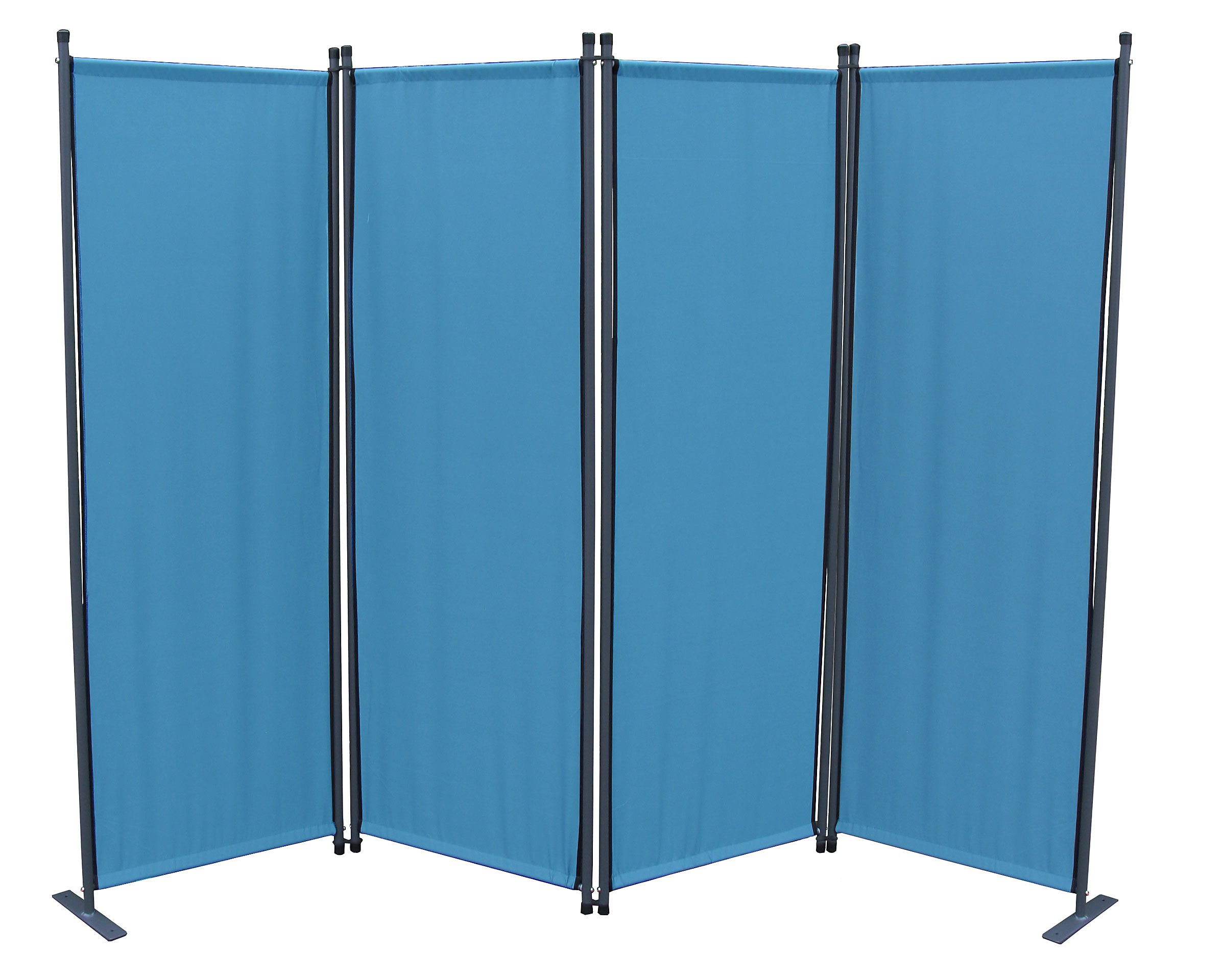 Grasekamp Paravent 4tlg Raumteiler Trennwand Sichtschutz Meerblau