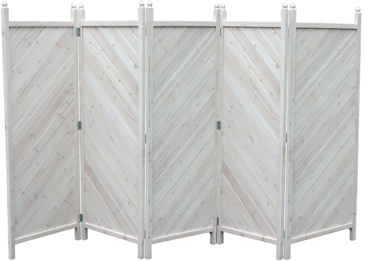 Grasekamp Paravent 5tlg Raumteiler Trennwand Sichtschutz Kiefer