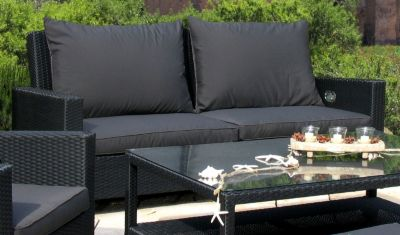 Grasekamp Rattan Lounge 2er Garten-Sofa, schwarz/anthrazit