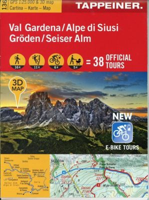 Gröden, Seiseralm 3D, Wanderkarte; Val Gardena, Alpe di Siusi
