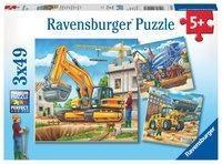 Grosse Baufahrzeuge Puzzle 3 x 49 Teile