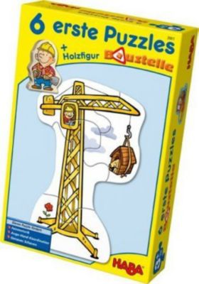 HABA 3901 6 erste Puzzles Baustelle + Holzfigur