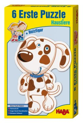 HABA 3902 6 Erste Puzzles Haustiere + Holzfigur