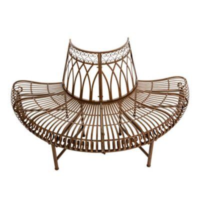 halbe gartenbank metall baum metall antik braun. Black Bedroom Furniture Sets. Home Design Ideas