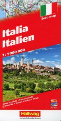 Hallwag Strassenkarte Italien / Italia