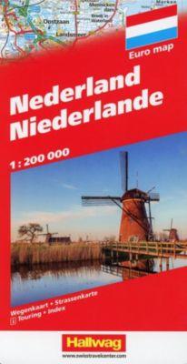 Hallwag Strassenkarte Niederlande; Nederland; Netherlands; Pays-Bas