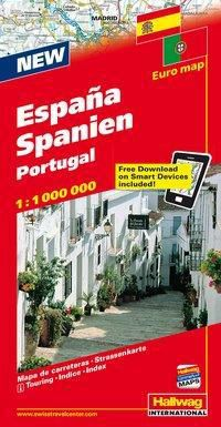 Hallwag Strassenkarte Spanien, Portugal; España, Portugal; Spain, Portugal; Espagne, Portugal