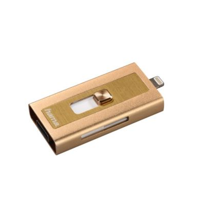 Hama Lightning-USB-Kartenleser MoveData, microSD, Gold