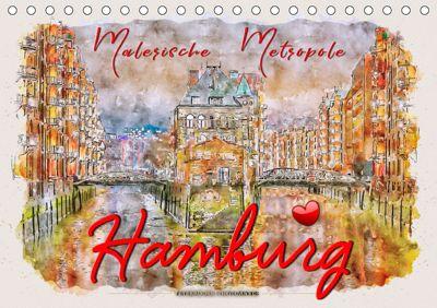 Hamburg - malerische Metropole (Tischkalender 2019 DIN A5 quer), Peter Roder
