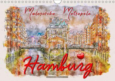 Hamburg - malerische Metropole (Wandkalender 2019 DIN A4 quer), Peter Roder