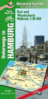 Hamburg Ost/West = unterwegs in Hamburg Rad- u. Wanderkarte = 1 Karte = Vorderseite West + Ost auf der Rückseite - mit vielen touristischen Informationen - Karte Ost/West, Detlef Maiwald, Björn Maiwald