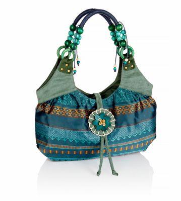 Handtasche Ethno, türkis