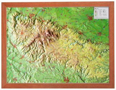 Harz, Reliefkarte, Klein, mit Holzrahmen, André Markgraf, Mario Engelhardt