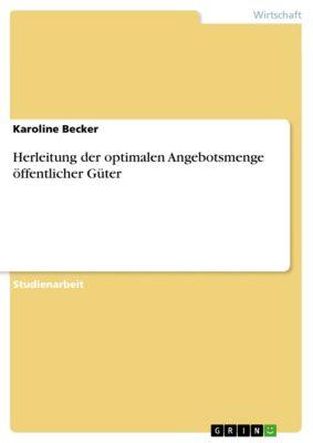 Herleitung der optimalen Angebotsmenge öffentlicher Güter, Karoline Becker