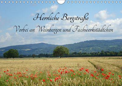 Herrliche Bergstrasse Vorbei an Weinbergen und Fachwerkstädtchen (Wandkalender 2019 DIN A4 quer), Ilona Andersen