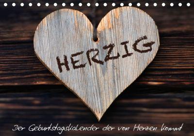 Herzig / Geburtstagskalender (Tischkalender immerwährend DIN A5 quer), Judith Dzierzawa