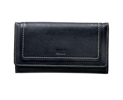 HIS Damen-Geldbörse Monza, Langformat, Echtleder (Farbe: schwarz)