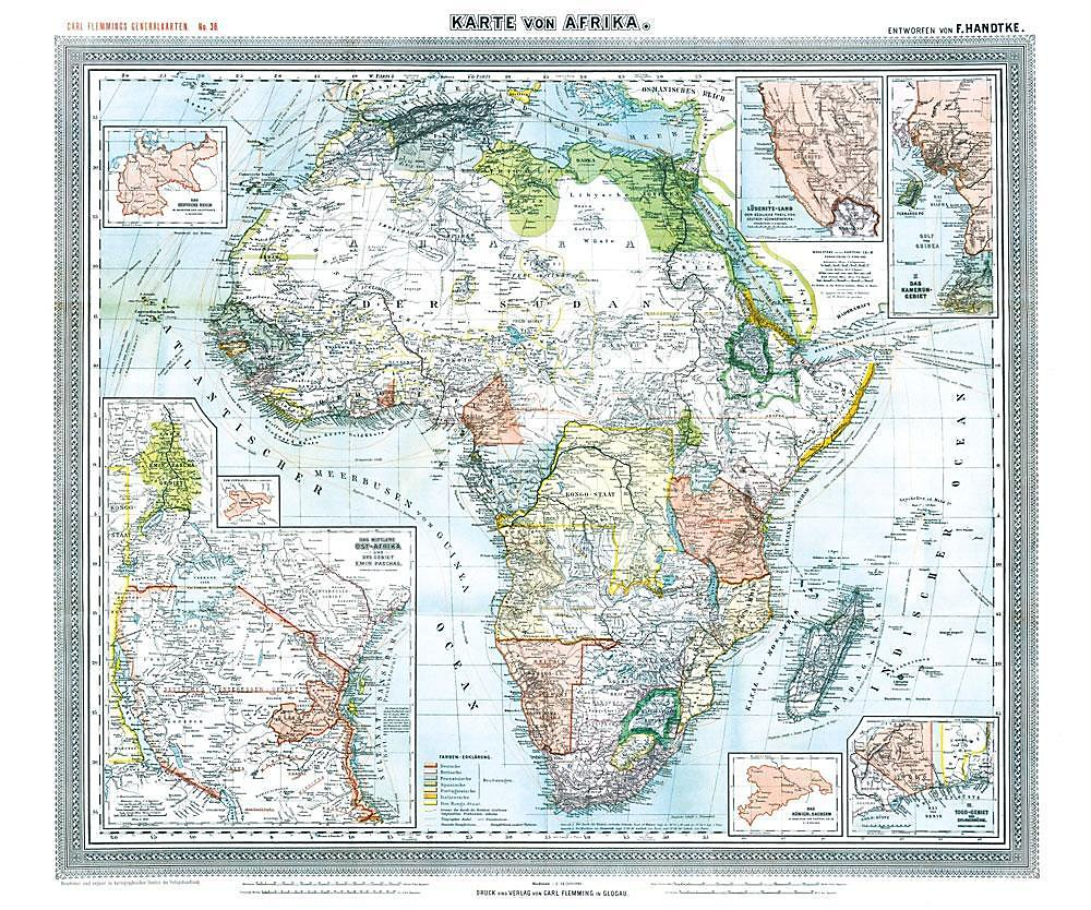 Karte Afrika.Historische Karte Afrika 1890 Plano Buch Versandkostenfrei