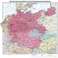 Historische Karte: Deutschland - Das Großdeutsche Reich mit dem Sudetendeutschen Gebieten, 1938 Planokarte - Produktdetailbild 5