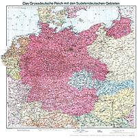 Historische Karte: Deutschland - Das Großdeutsche Reich mit dem Sudetendeutschen Gebieten, 1938 Planokarte - Produktdetailbild 6