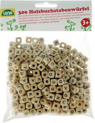 Holz Buchstabenwürfelperlen 300-tlg.