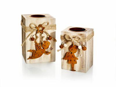 """Holz-Teelichthalter """"Engel"""", 2er-Set"""