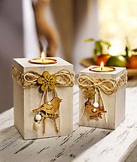 """Holz-Teelichthalter """"Vogel"""", 2er-Set - Produktdetailbild 1"""