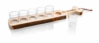 Holzbrett mit 6 Schnapsgläsern