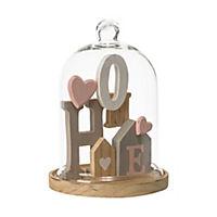 Holzdeko mit Glasglocke Home Bunt - Produktdetailbild 1
