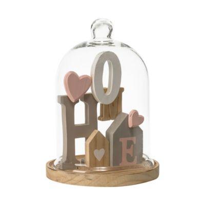 Holzdeko mit Glasglocke Home Bunt