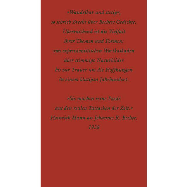 Hundert Gedichte Buch Von Johannes R Becher