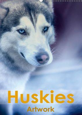 Huskies - Artwork (Wandkalender 2019 DIN A2 hoch), Liselotte Brunner-Klaus