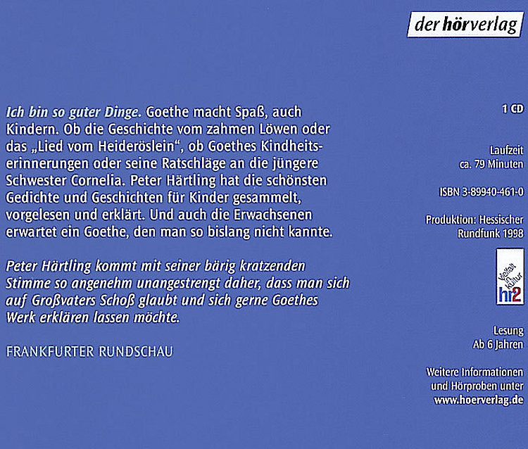 Ich Bin So Guter Dinge Goethe Für Kinder 1 Audio Cd Hörbuch