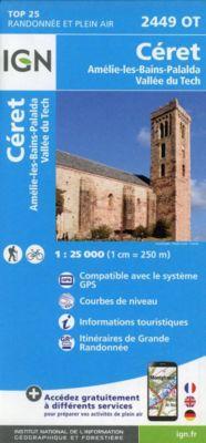 IGN Karte, Carte de randonnée (et plein air) Céret - Amélie-les-Bains-Palalda - Vallée du Tech