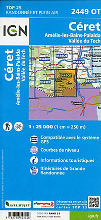 IGN Karte, Carte de randonnée (et plein air) Céret - Amélie-les-Bains-Palalda - Vallée du Tech - Produktdetailbild 1