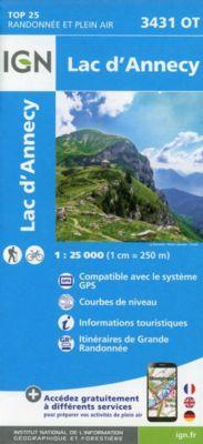 IGN Karte, Carte de randonnée (et plein air) Lac d'Annecy