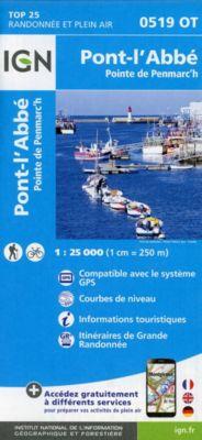 IGN Karte, Carte de randonnée (et plein air) Pont-l'Abbé, Pointe de Penmarc'h