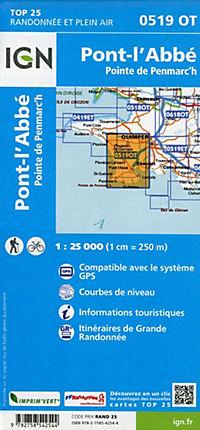 IGN Karte, Carte de randonnée (et plein air) Pont-l'Abbé, Pointe de Penmarc'h - Produktdetailbild 1