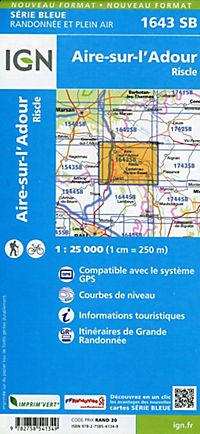IGN Karte, Serie Bleue Aire sur l'Adour, Riscle - Produktdetailbild 1