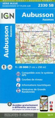 IGN Karte, Serie Bleue Aubusson, Auzances