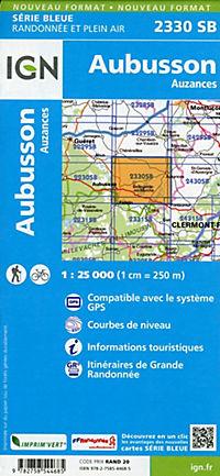 IGN Karte, Serie Bleue Aubusson, Auzances - Produktdetailbild 1