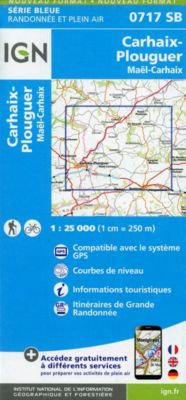 IGN Karte, Serie Bleue Carhaix-Plouguer Maël-Carhaix