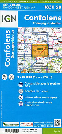 IGN Karte, Serie Bleue Confolens Champagne-Mouton - Produktdetailbild 1