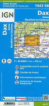 IGN Karte, Serie Bleue Dax Amou Montfort-en-Chalosse - Produktdetailbild 1